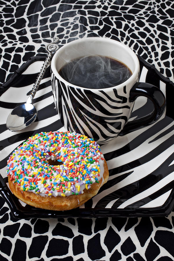 Coffee And Donut On Striped Plate Photograph  - Coffee And Donut On Striped Plate Fine Art Print
