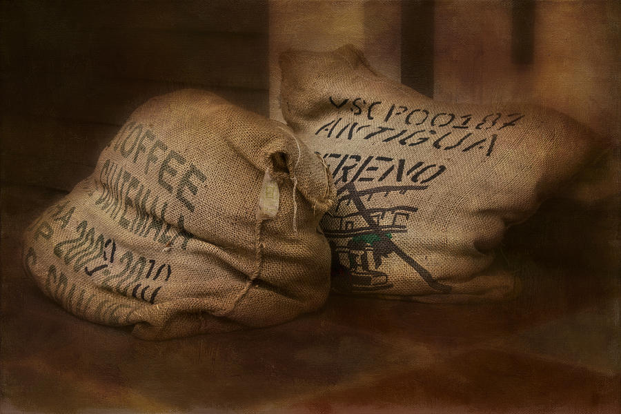 Coffee Beans In Burlap Bags Photograph