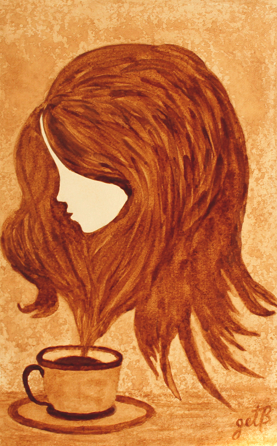 Coffee break coffee painting painting by georgeta blanaru for Painting with coffee grounds