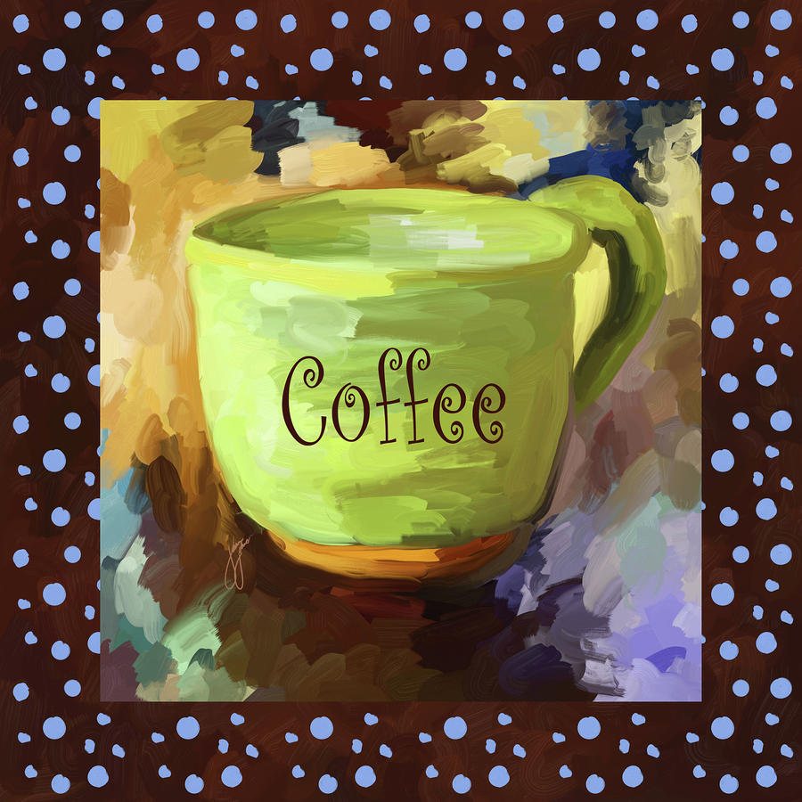 Coffee Cup With Blue Dots Painting  - Coffee Cup With Blue Dots Fine Art Print