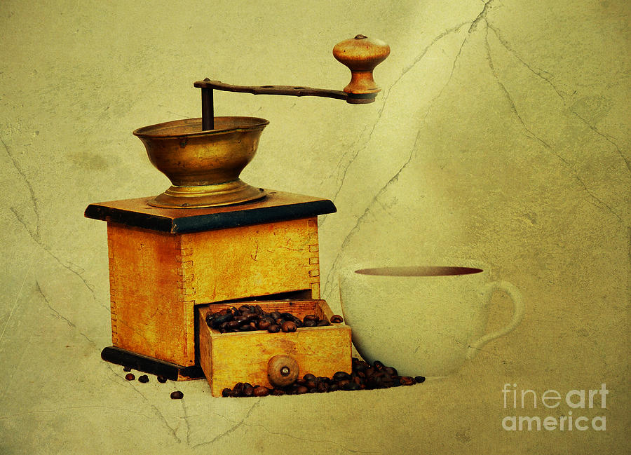 Coffee Mill And Cup Of Hot Black Coffee Photograph