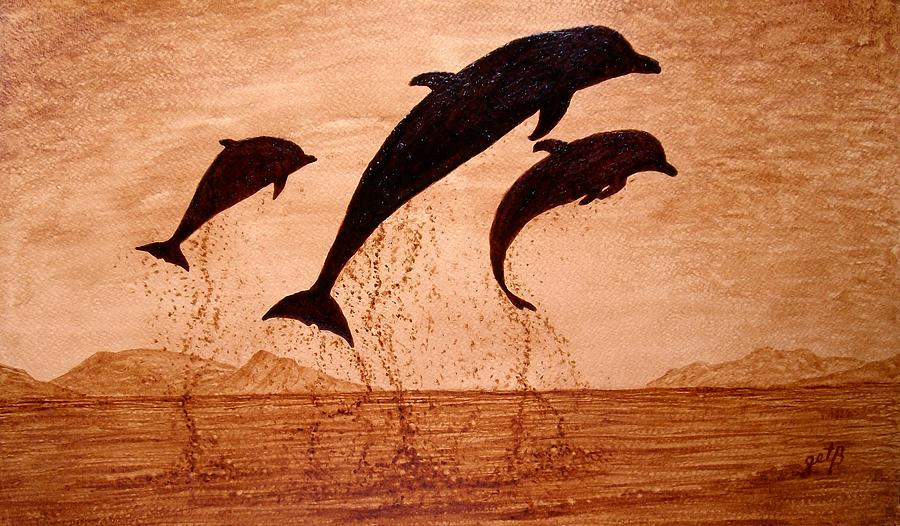 Coffee painting dolphins playing by georgeta blanaru for Painting with coffee