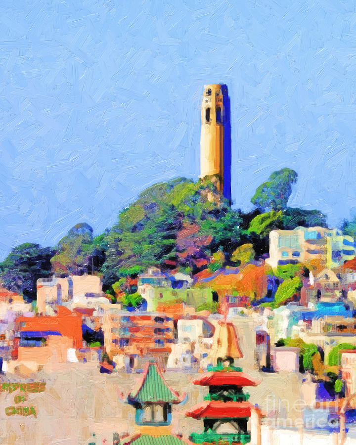Coit Tower And The Empress Of China - Photo Artwork Photograph