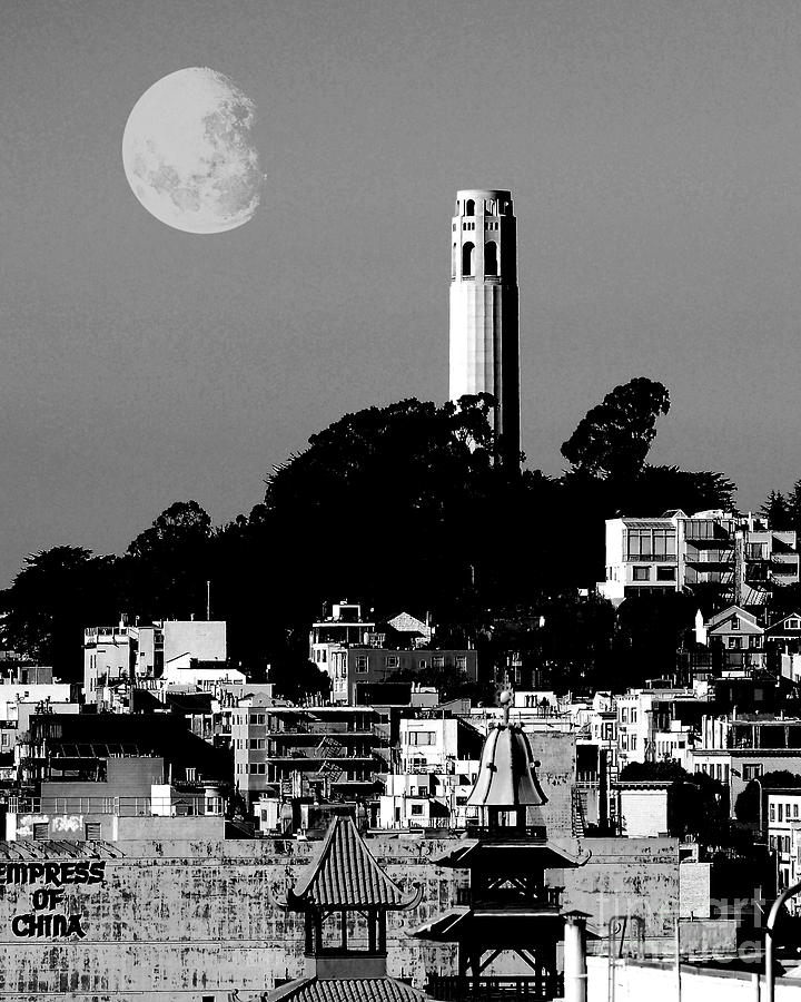 Coit Tower Empress Of China And The Moon - Black And White Photograph  - Coit Tower Empress Of China And The Moon - Black And White Fine Art Print