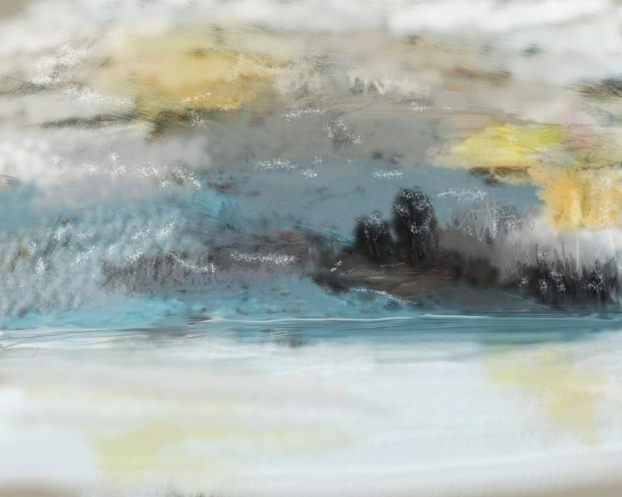 Cold Day Lakeside Abstract Landscape Digital Art