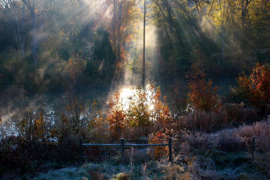 Fog Mist Fence Water Pond Trees Autumn Fall Sun Rays Sunraus Michaelatipton Photograph - Cold Mist Iv by Michael Tipton
