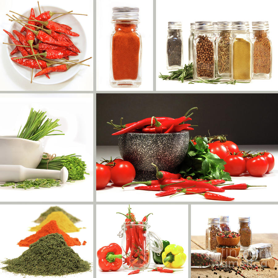 Allspice Photograph - Collage Of Different Colorful Spices For Seasoning by Sandra Cunningham
