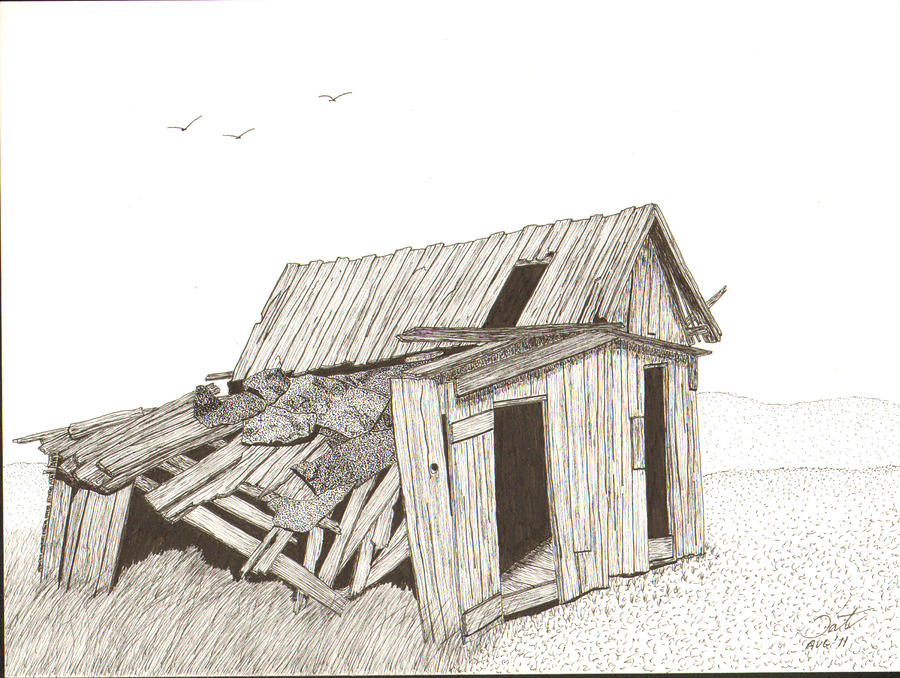 Pen And Ink Drawing - Collapsed by Pat Price