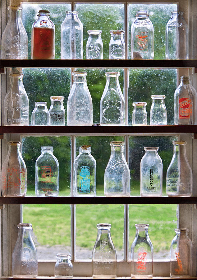 Collector - Bottles - Milk Bottles  Photograph  - Collector - Bottles - Milk Bottles  Fine Art Print