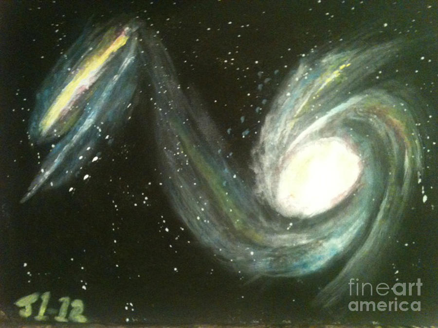 Colliding Galaxies Painting  - Colliding Galaxies Fine Art Print