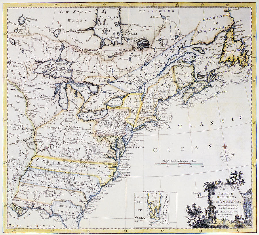 Colonial America Map C1770 Photograph by Granger