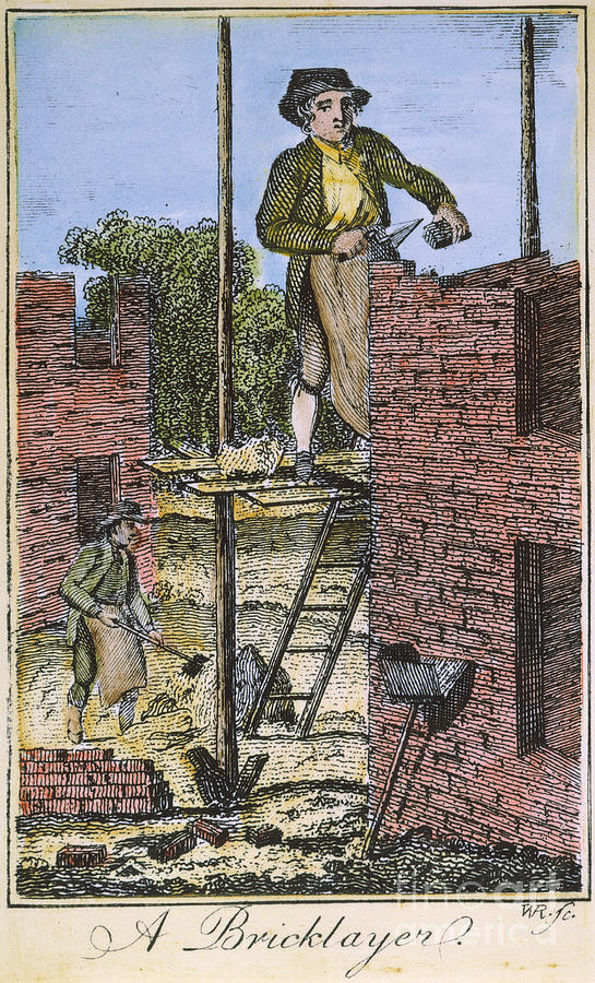 Colonial Bricklayer, 18th C Photograph