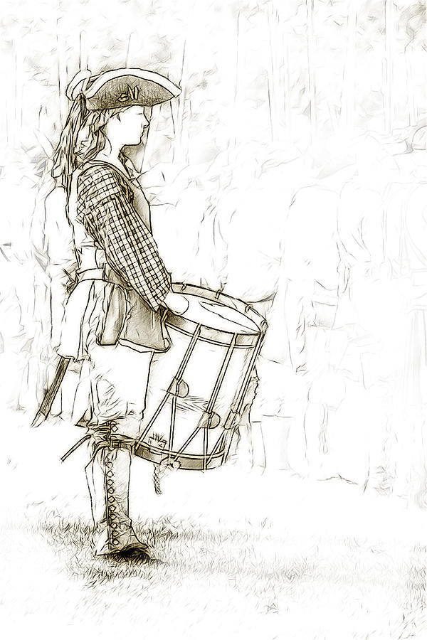 Colonial Drummer Portrait Sketch Digital Art