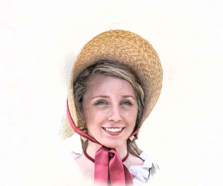 Colonial Girl With Hat Digital Art