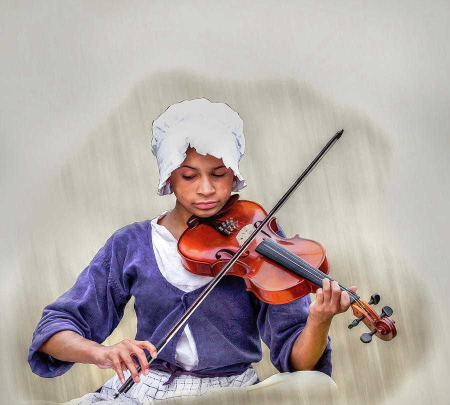 Colonial Girl With Violin  Digital Art  - Colonial Girl With Violin  Fine Art Print