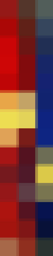 Color Block Reds Blue Yellow By Madart Painting  - Color Block Reds Blue Yellow By Madart Fine Art Print