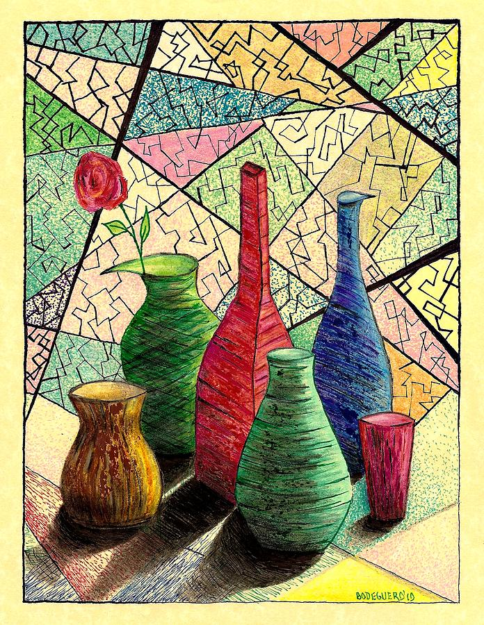 Color Drawing Of Vases With Flower Drawing  - Color Drawing Of Vases With Flower Fine Art Print