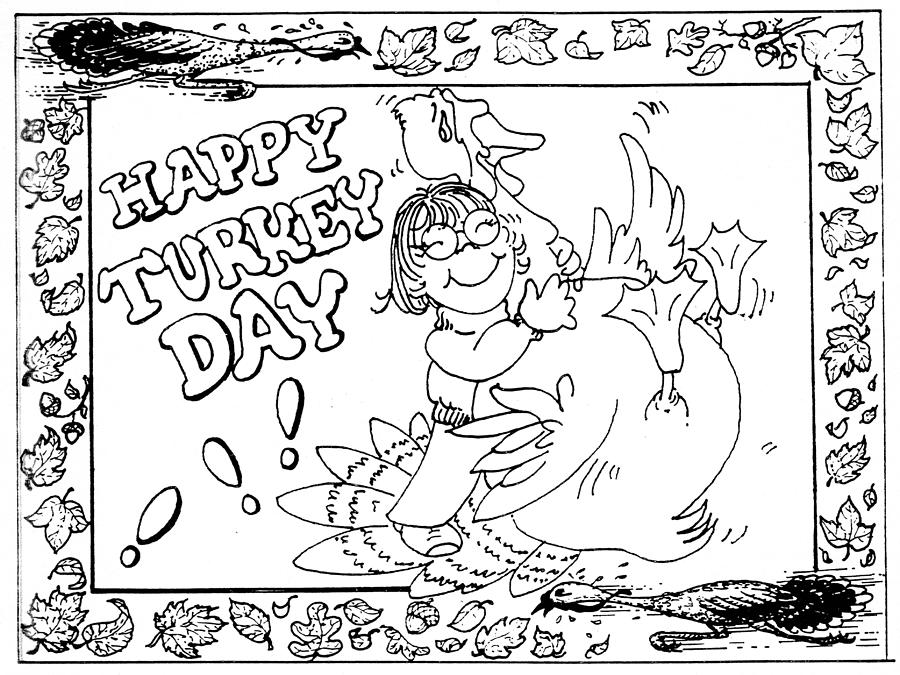 Thanksgiving coloring pages cards ~ Color Me Card - Thanksgiving Drawing by Sher Sester