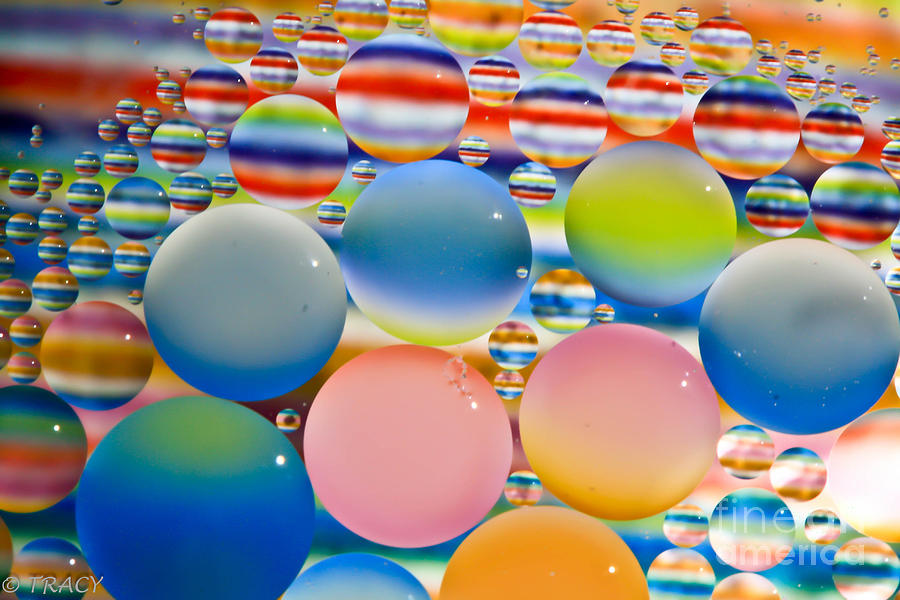 Oil Photograph - Color Oil Bubbles by Tracy  Hall