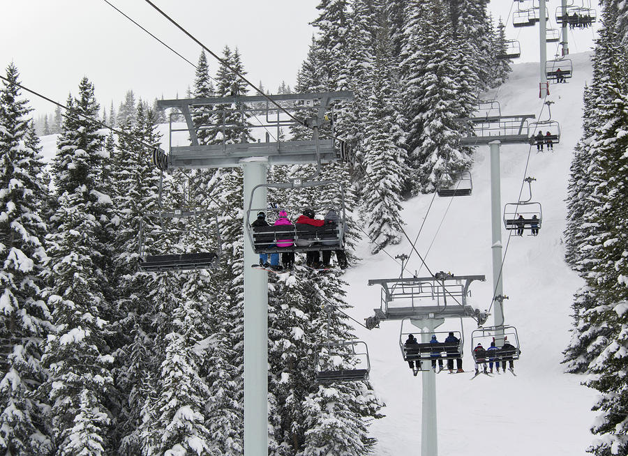 Colorado Chair Lift During Winter Photograph  - Colorado Chair Lift During Winter Fine Art Print