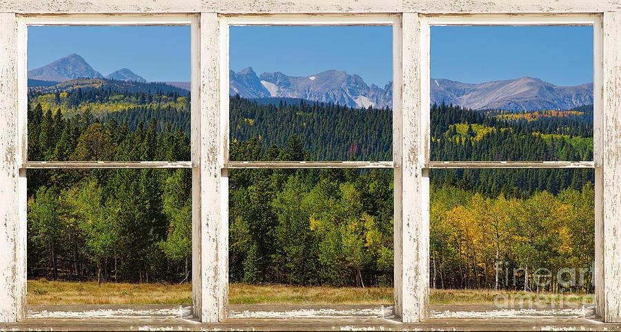 Colorado Indian Peaks Autumn Rustic Window View Photograph