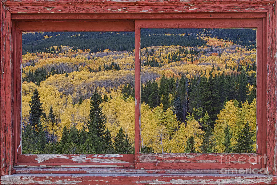 Colorado Red Rustic Picture Window Frame Photo Art Photograph  - Colorado Red Rustic Picture Window Frame Photo Art Fine Art Print