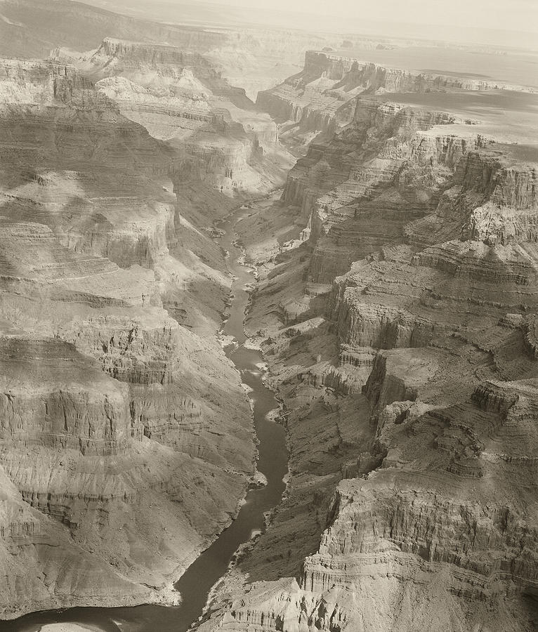 Colorado River And Grand Canyon In Monochrome Photograph  - Colorado River And Grand Canyon In Monochrome Fine Art Print