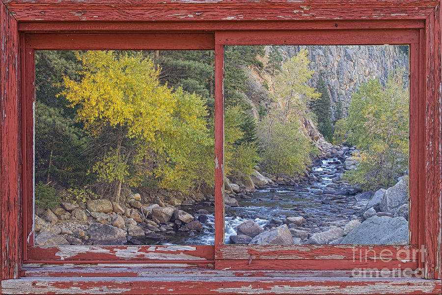 Colorado St Vrain Canyon Red Rustic Picture Window Frame Photos  Photograph  - Colorado St Vrain Canyon Red Rustic Picture Window Frame Photos  Fine Art Print