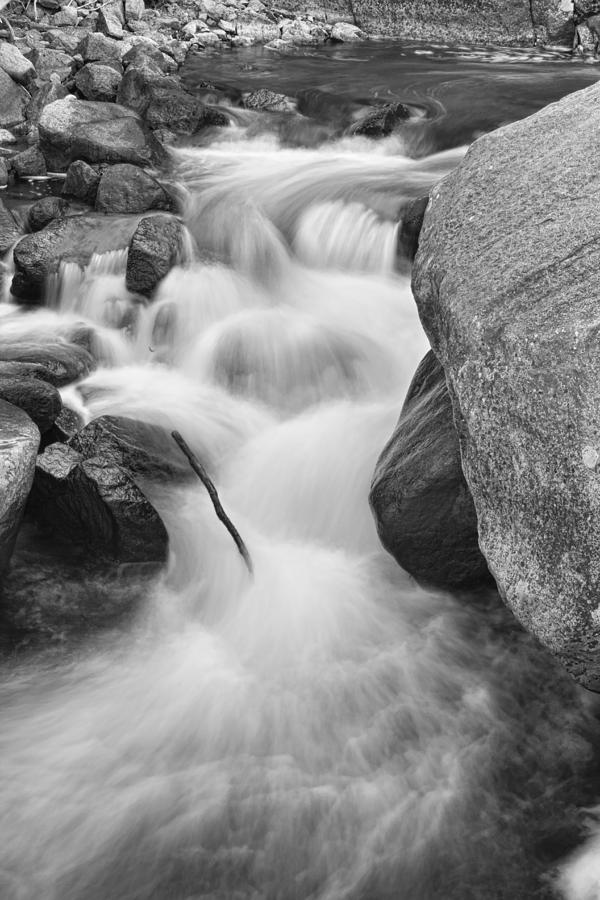 Colorado St Vrain River Trance Bw Photograph