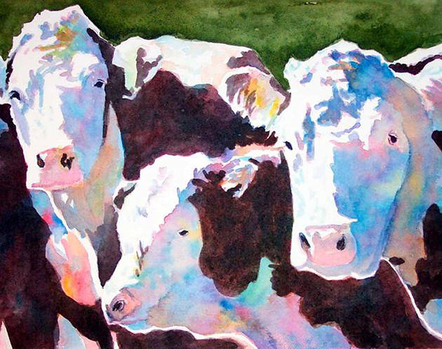 Cows Painting - Colored Cows by Katie Beecher