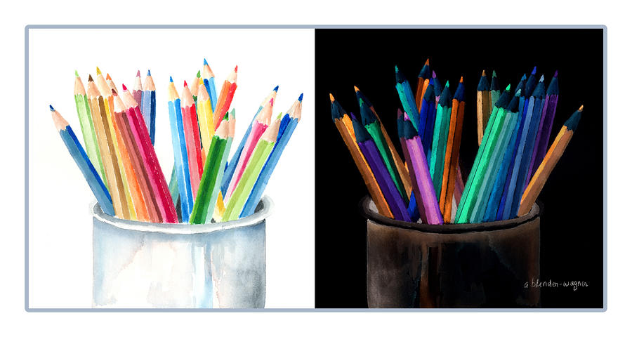 Colored Pencils - The Positive And The Negative Painting  - Colored Pencils - The Positive And The Negative Fine Art Print