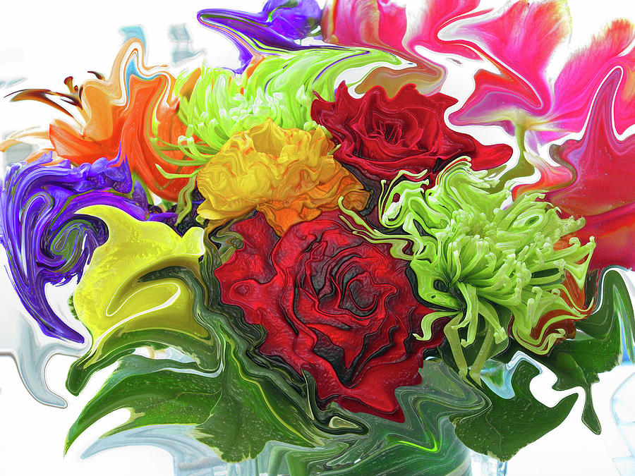 Colorful Bouquet Digital Art  - Colorful Bouquet Fine Art Print