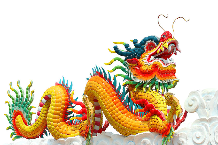 Colorful Chinese Dragon Isolated  Sculpture