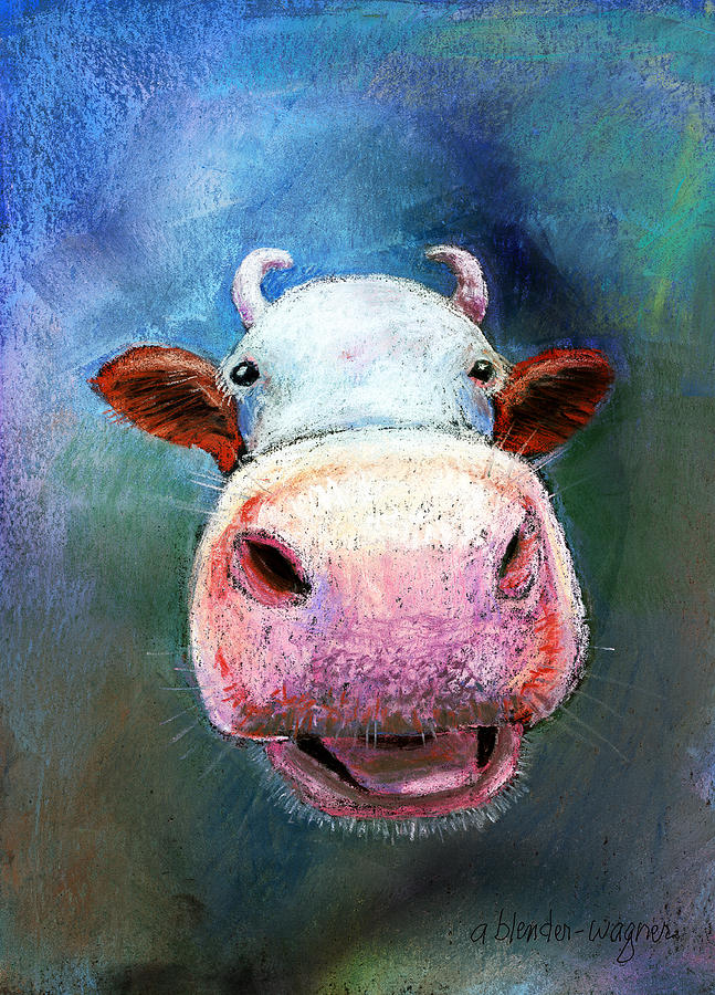 Colorful Cow  Pastel  - Colorful Cow  Fine Art Print