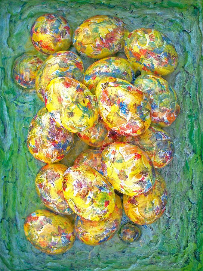 Colorful Eggs Painting  - Colorful Eggs Fine Art Print