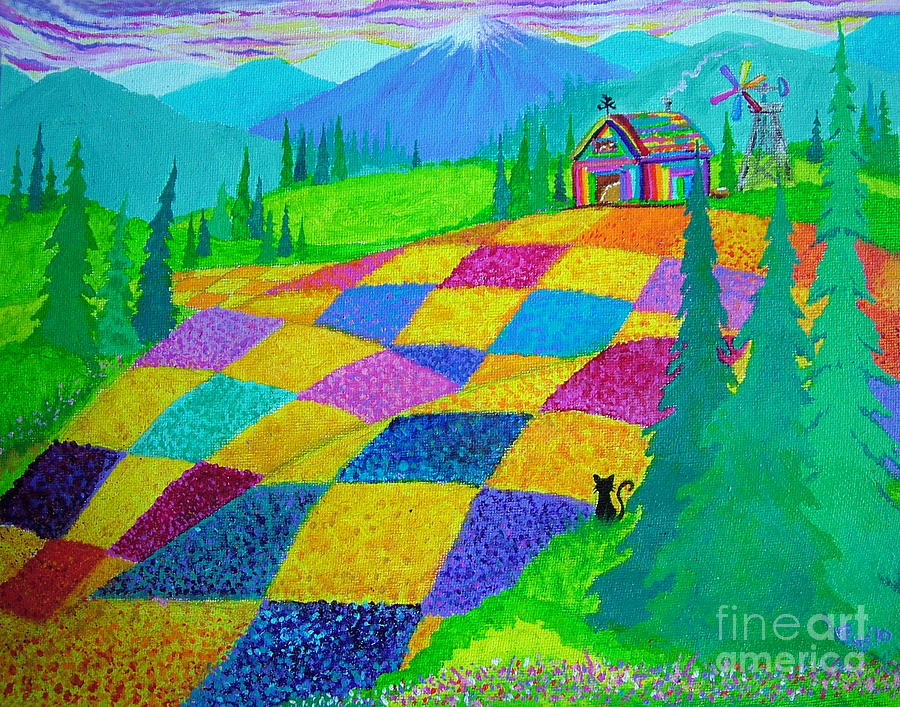 Colorful Fields Painting  - Colorful Fields Fine Art Print