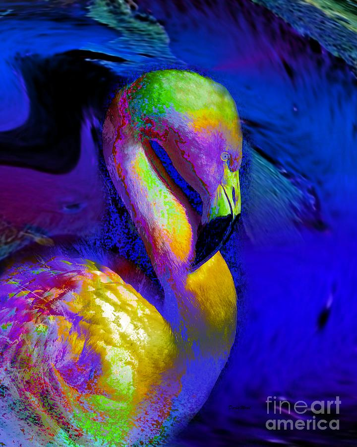 Colorful Flamingo   Digital Art  - Colorful Flamingo   Fine Art Print