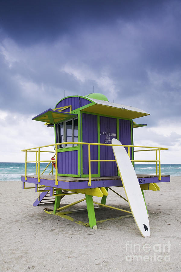 Colorful Lifeguard Station And Surfboard Photograph