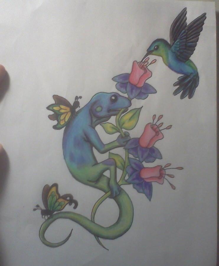 Colorful Lizard Drawing by Erica Koczorowski