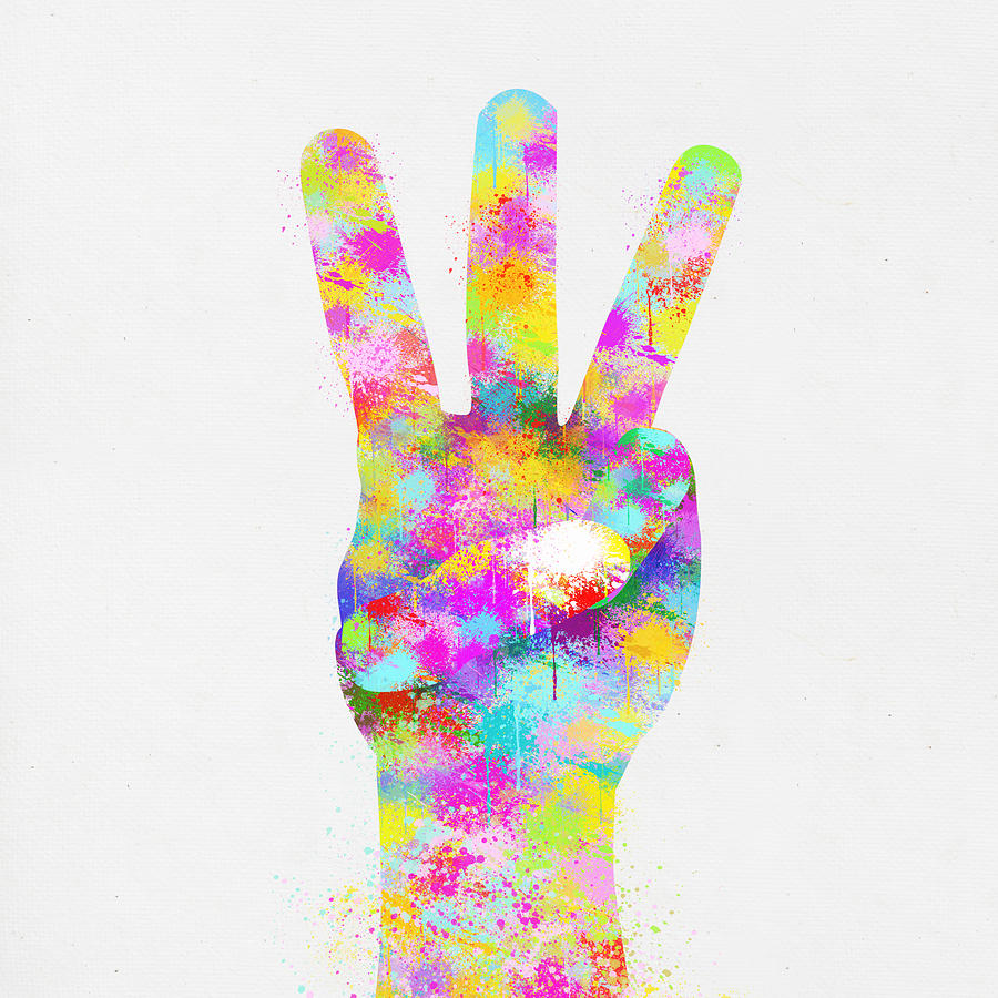 Colorful Painting Of Hand Point Three Finger Painting  - Colorful Painting Of Hand Point Three Finger Fine Art Print
