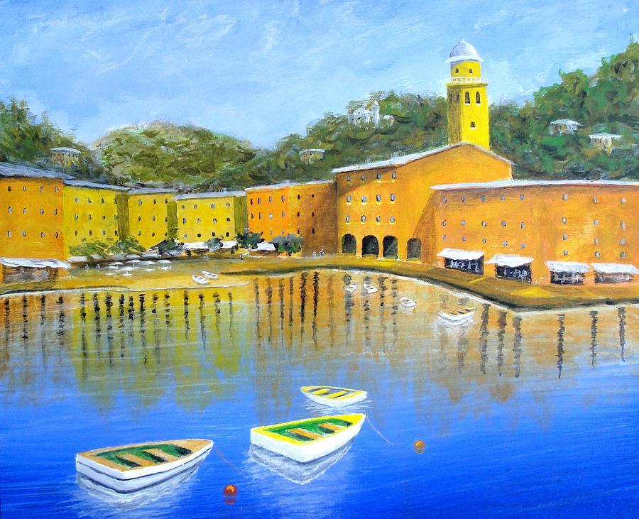 Portofino Art Italy Mediterranean Art Painting - Colorful Reflections Of Portofino by Larry Cirigliano
