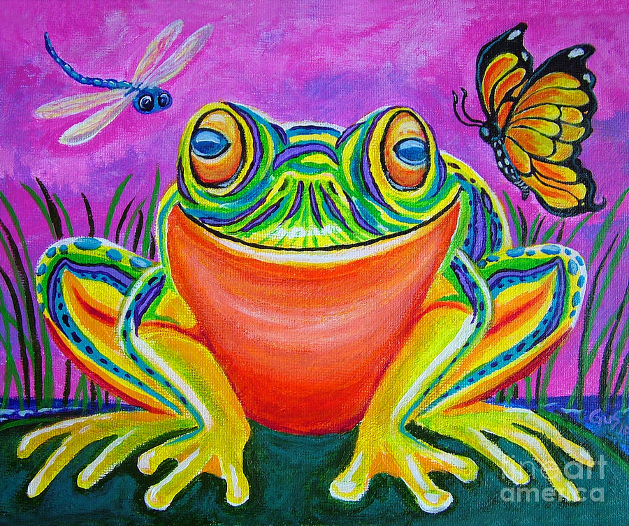 Colorful Smiling Frog-voodoo Frog Painting  - Colorful Smiling Frog-voodoo Frog Fine Art Print