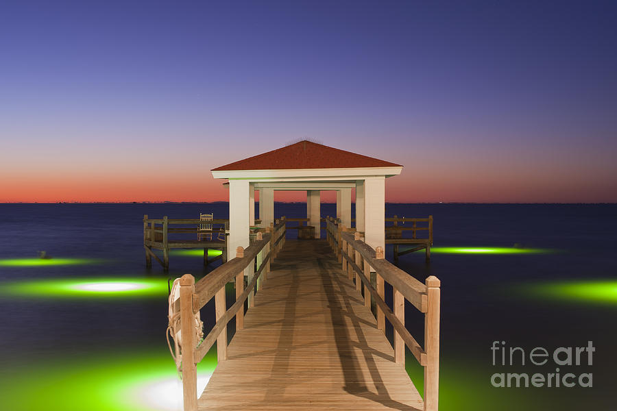 Colorful sunrise with fishing pier at the texas gulf coast for Texas gulf coast fishing