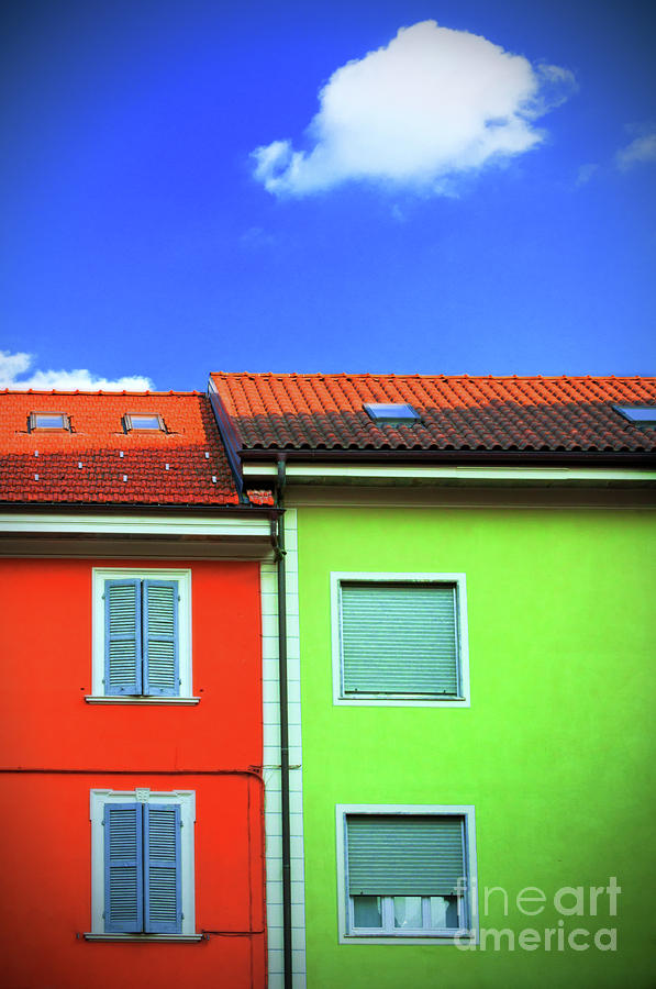 Colorful Walls And A Cloud Photograph