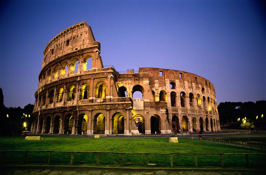 Colosseum At Night, Rome, Italy Photograph