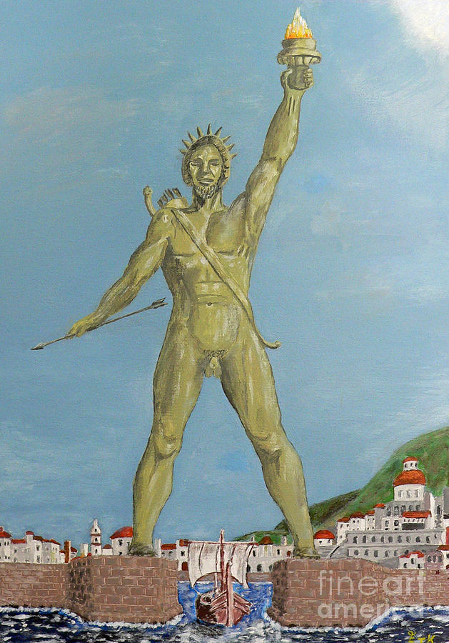 Colossus Of Rhodes Painting