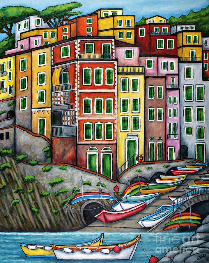 Colours Of Riomaggiore Cinque Terre Painting