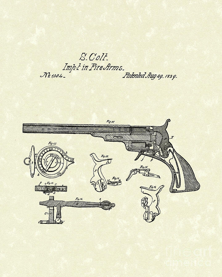 Colt Firearms 1839 Patent Art Drawing  - Colt Firearms 1839 Patent Art Fine Art Print