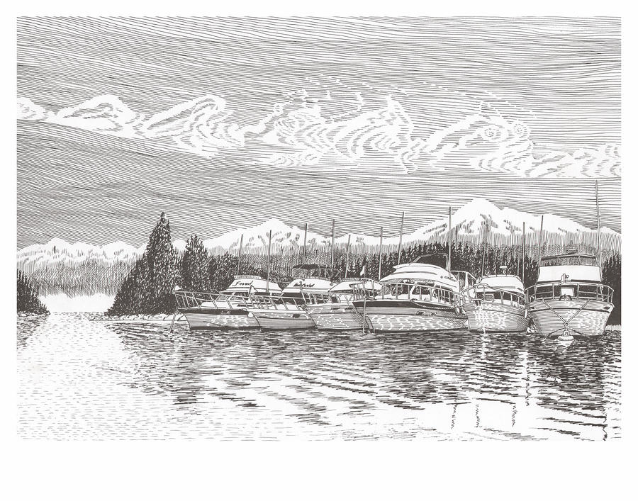 Columbia River Raft Up Drawing  - Columbia River Raft Up Fine Art Print