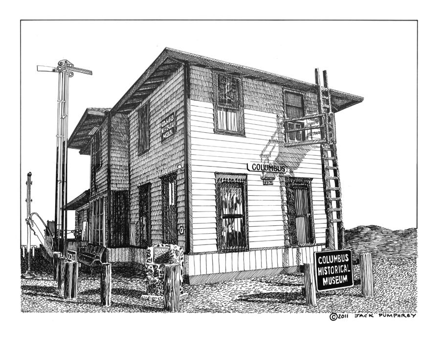 Framed Prints And Note Cards Of Ink Drawings Of Scenic Southern New Mexico. Framed Canvas Prints Of Pen And Ink Images Of Southern New Mexico. Black And White Art Of Southern New Mexico Drawing - Columbus New Mexico  by Jack Pumphrey
